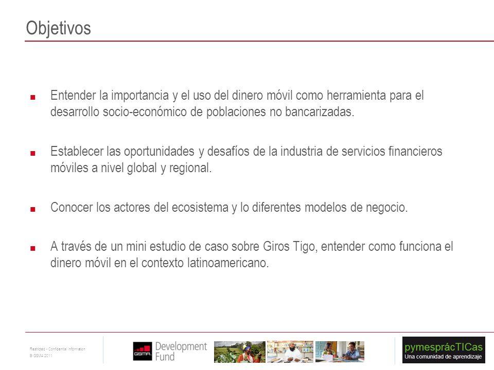 3 Restricted - Confidential Information © GSMA 2011 Objetivos Entender la importancia y el uso del dinero móvil como herramienta para el desarrollo so