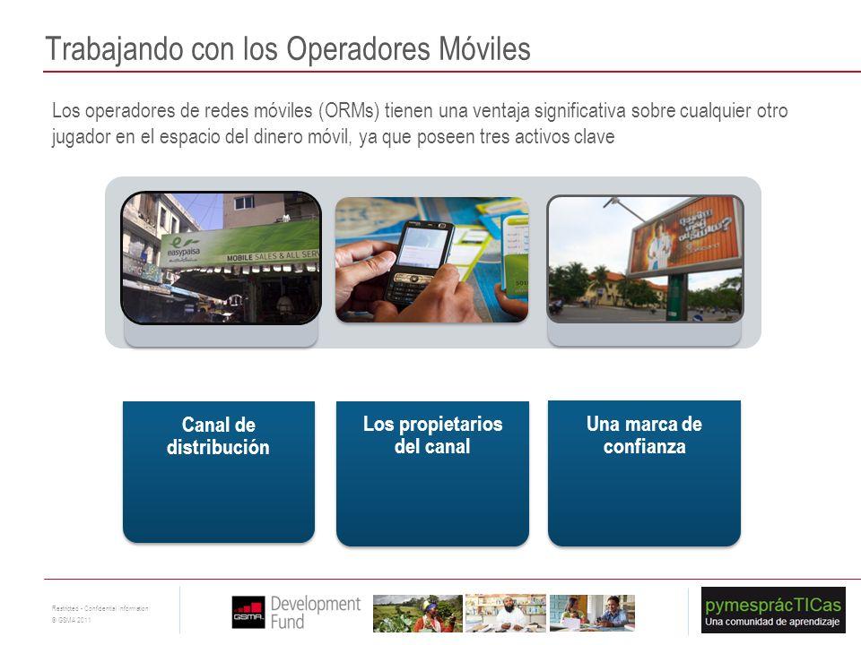 9 Restricted - Confidential Information © GSMA 2011 Trabajando con los Operadores Móviles Los operadores de redes móviles (ORMs) tienen una ventaja si