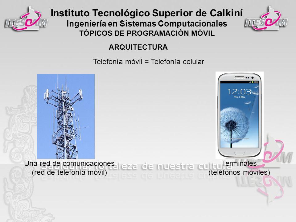 Instituto Tecnológico Superior de Calkiní Ingeniería en Sistemas Computacionales TÓPICOS DE PROGRAMACIÓN MÓVIL Telefonía móvil = Telefonía celular Una