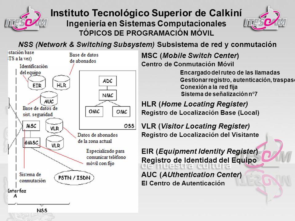 Instituto Tecnológico Superior de Calkiní Ingeniería en Sistemas Computacionales TÓPICOS DE PROGRAMACIÓN MÓVIL NSS (Network & Switching Subsystem) Sub