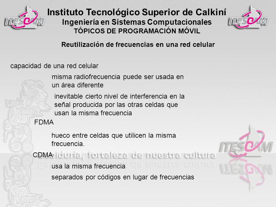 Instituto Tecnológico Superior de Calkiní Ingeniería en Sistemas Computacionales TÓPICOS DE PROGRAMACIÓN MÓVIL Reutilización de frecuencias en una red