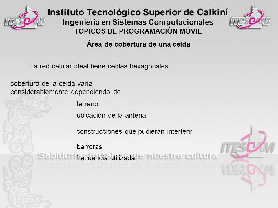 Instituto Tecnológico Superior de Calkiní Ingeniería en Sistemas Computacionales TÓPICOS DE PROGRAMACIÓN MÓVIL Área de cobertura de una celda La red c