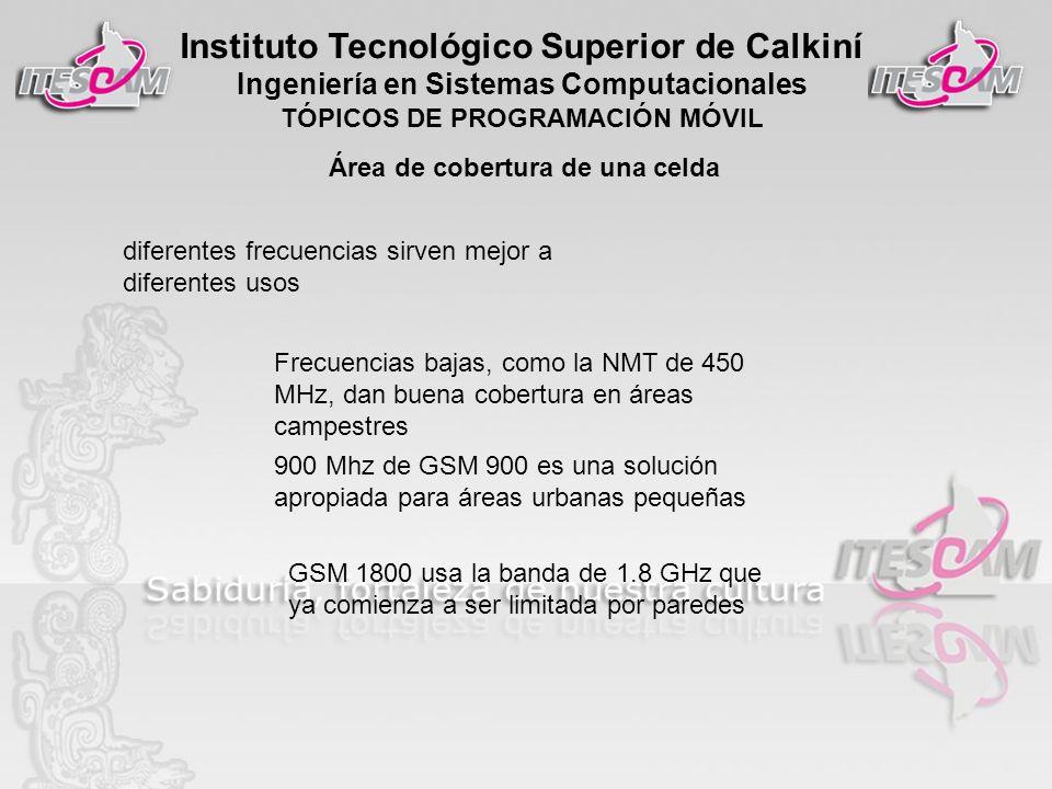 Instituto Tecnológico Superior de Calkiní Ingeniería en Sistemas Computacionales TÓPICOS DE PROGRAMACIÓN MÓVIL Área de cobertura de una celda diferent