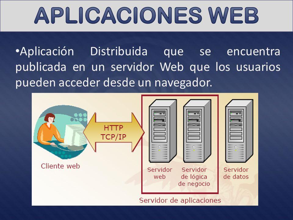 Aplicación Distribuida que se encuentra publicada en un servidor Web que los usuarios pueden acceder desde un navegador.