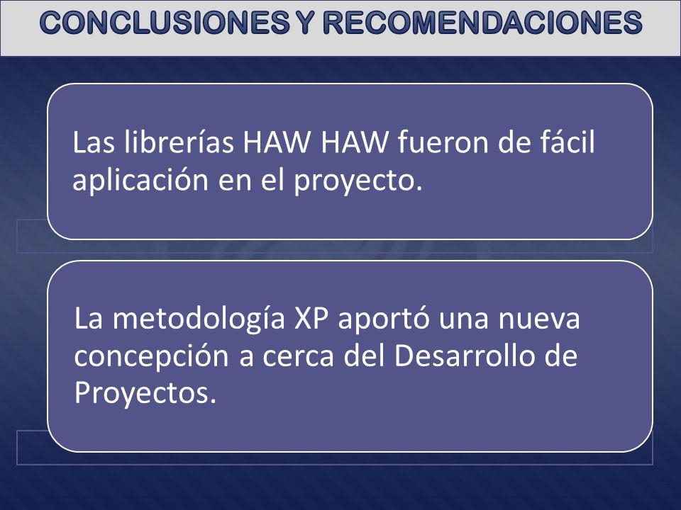 Las librerías HAW HAW fueron de fácil aplicación en el proyecto. La metodología XP aportó una nueva concepción a cerca del Desarrollo de Proyectos.