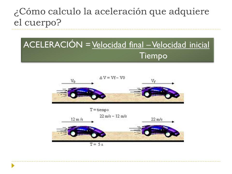 ¿Cómo calculo la aceleración que adquiere el cuerpo? ACELERACIÓN = Velocidad final – Velocidad inicial Tiempo ACELERACIÓN = Velocidad final – Velocida