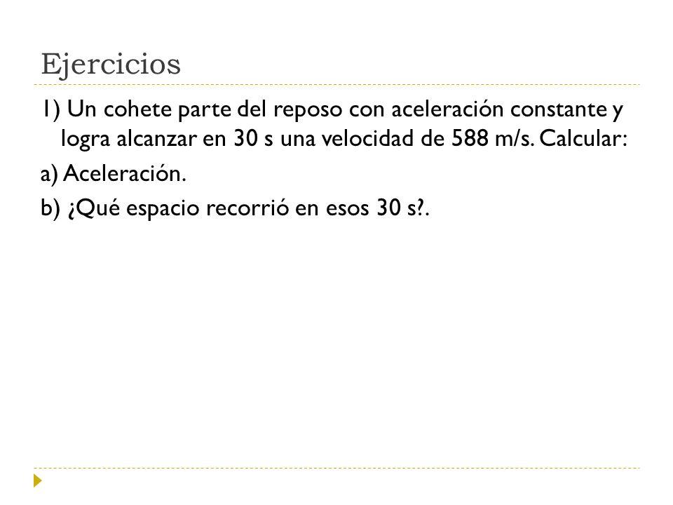 Ejercicios 1) Un cohete parte del reposo con aceleración constante y logra alcanzar en 30 s una velocidad de 588 m/s. Calcular: a) Aceleración. b) ¿Qu
