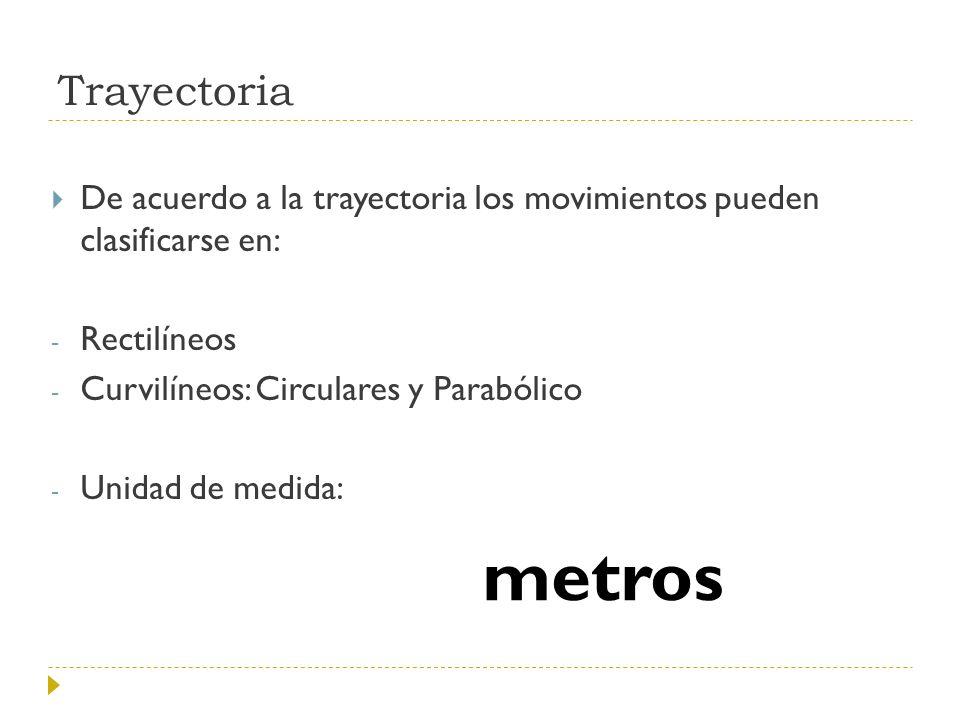 Trayectoria De acuerdo a la trayectoria los movimientos pueden clasificarse en: - Rectilíneos - Curvilíneos: Circulares y Parabólico - Unidad de medid