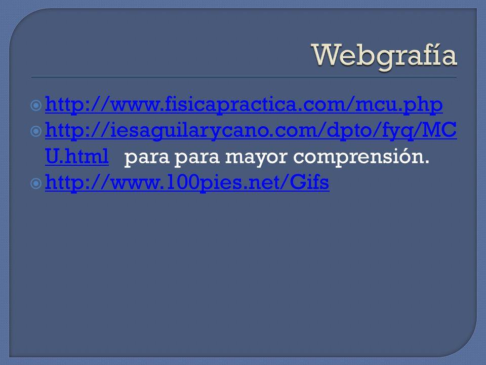 http://www.fisicapractica.com/mcu.php http://iesaguilarycano.com/dpto/fyq/MC U.html para para mayor comprensión. http://iesaguilarycano.com/dpto/fyq/M