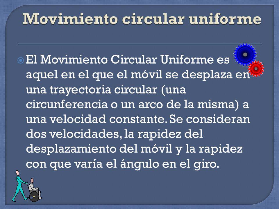 El Movimiento Circular Uniforme es aquel en el que el móvil se desplaza en una trayectoria circular (una circunferencia o un arco de la misma) a una v