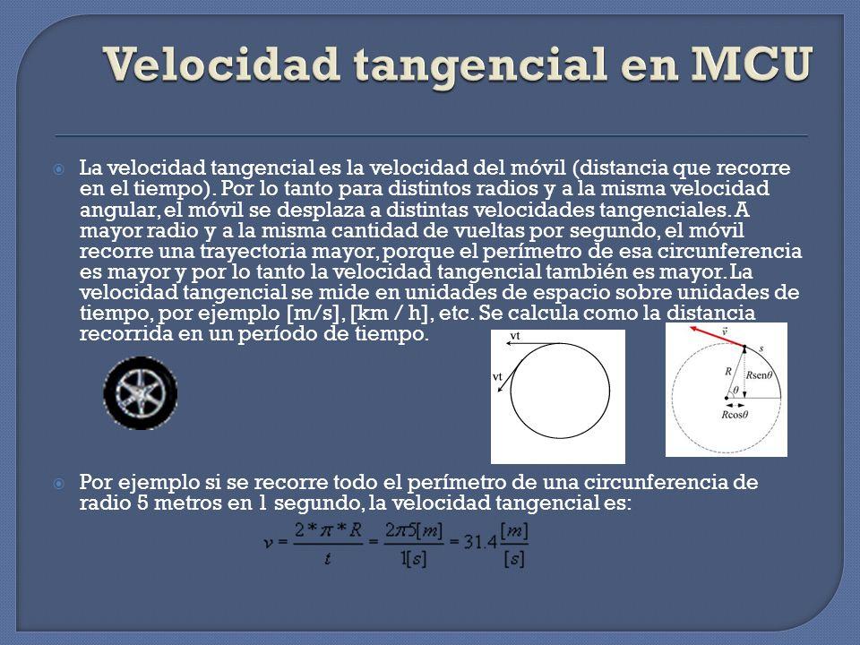 La velocidad tangencial es la velocidad del móvil (distancia que recorre en el tiempo). Por lo tanto para distintos radios y a la misma velocidad angu