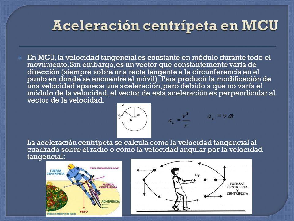 En MCU, la velocidad tangencial es constante en módulo durante todo el movimiento. Sin embargo, es un vector que constantemente varía de dirección (si