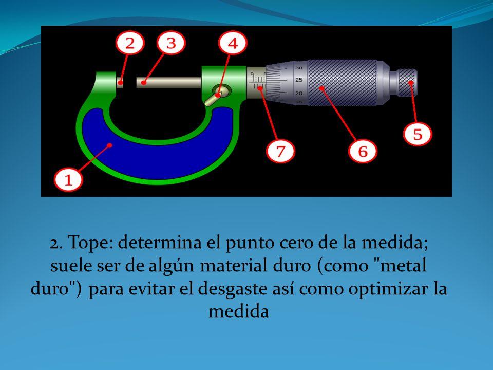 1. Cuerpo: constituye el armazón del micrómetro; suele tener unas plaquitas de aislante térmico para evitar la variación de medida por dilatación.