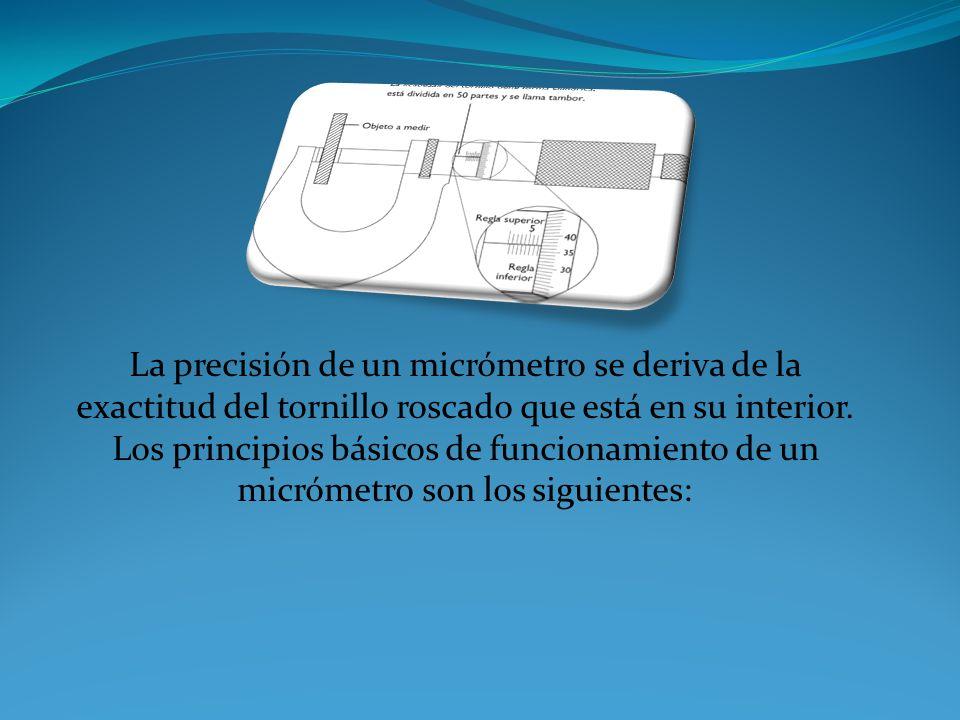El micrómetro usa el principio de un tornillo para transformar pequeñas distancias que son demasiado pequeñas para ser medidas directamente, en grande