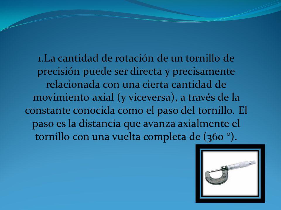 1.La cantidad de rotación de un tornillo de precisión puede ser directa y precisamente relacionada con una cierta cantidad de movimiento axial (y viceversa), a través de la constante conocida como el paso del tornillo.