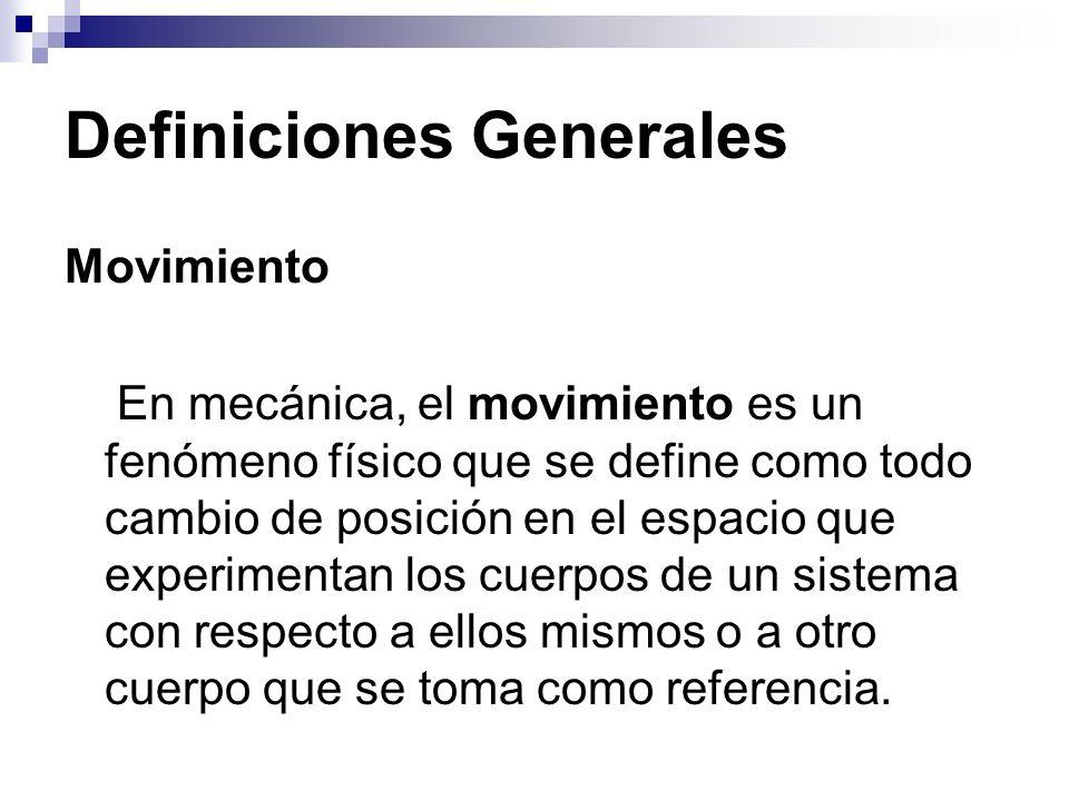 Definiciones Generales Movimiento En mecánica, el movimiento es un fenómeno físico que se define como todo cambio de posición en el espacio que experi