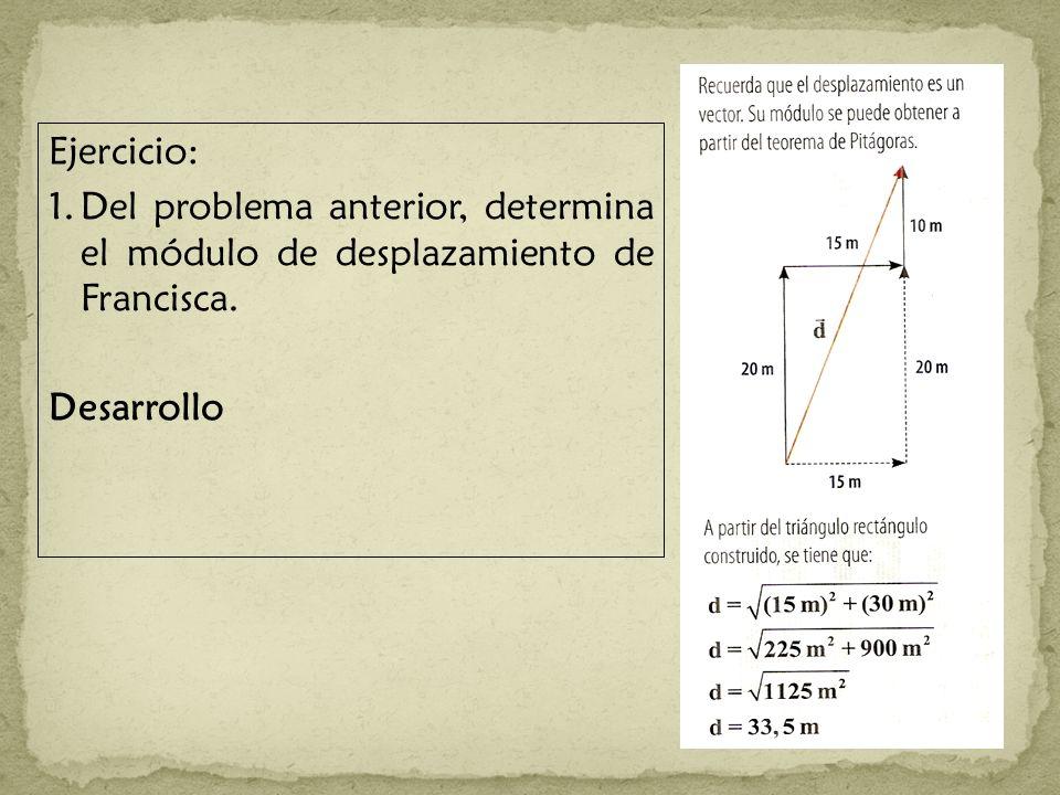 Ejercicio: 1.Del problema anterior, determina el módulo de desplazamiento de Francisca. Desarrollo