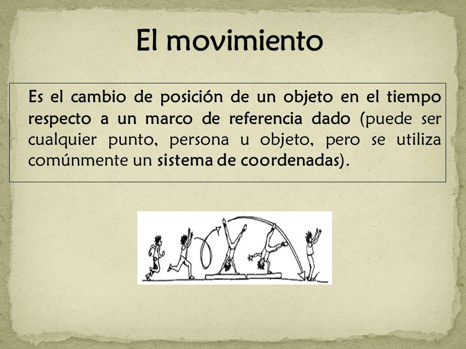 Es el cambio de posición de un objeto en el tiempo respecto a un marco de referencia dado (puede ser cualquier punto, persona u objeto, pero se utiliza comúnmente un sistema de coordenadas).
