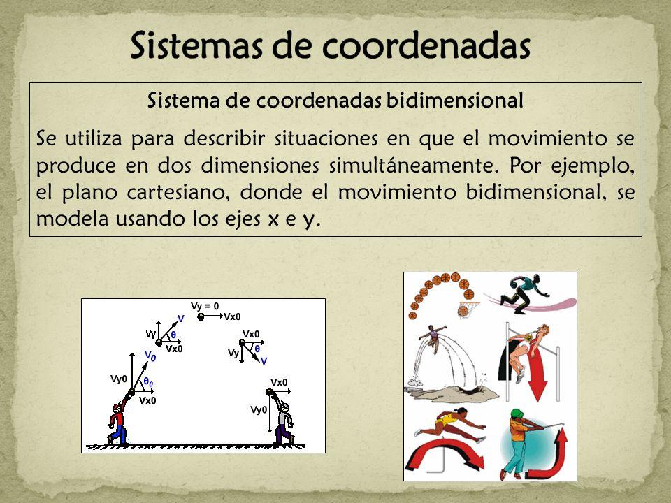 Sistema de coordenadas bidimensional Se utiliza para describir situaciones en que el movimiento se produce en dos dimensiones simultáneamente. Por eje