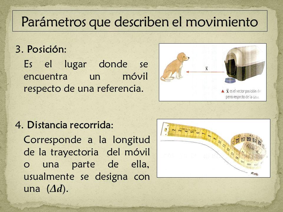 3. Posición: Es el lugar donde se encuentra un móvil respecto de una referencia. 4. Distancia recorrida: Corresponde a la longitud de la trayectoria d