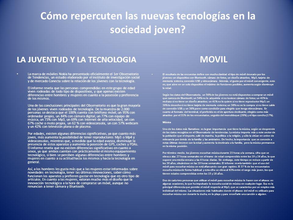 Cómo repercuten las nuevas tecnologías en la sociedad joven.