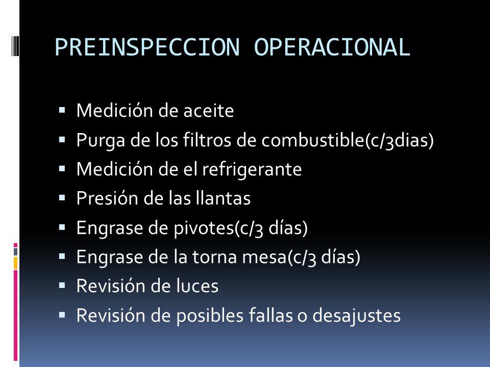 PREINSPECCION OPERACIONAL Medición de aceite Purga de los filtros de combustible(c/3dias) Medición de el refrigerante Presión de las llantas Engrase d