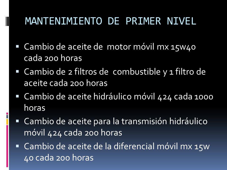 MANTENIMIENTO DE PRIMER NIVEL Cambio de aceite de motor móvil mx 15w40 cada 200 horas Cambio de 2 filtros de combustible y 1 filtro de aceite cada 200