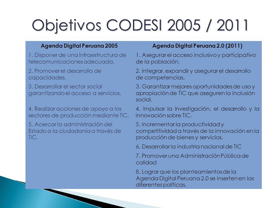 Agenda Digital Peruana 2005Agenda Digital Peruana 2.0 (2011) 1.