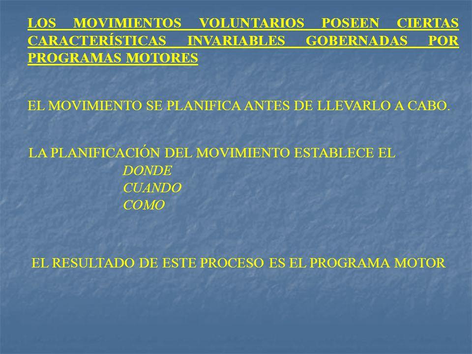 LOS MOVIMIENTOS VOLUNTARIOS POSEEN CIERTAS CARACTERÍSTICAS INVARIABLES GOBERNADAS POR PROGRAMAS MOTORES EL MOVIMIENTO SE PLANIFICA ANTES DE LLEVARLO A
