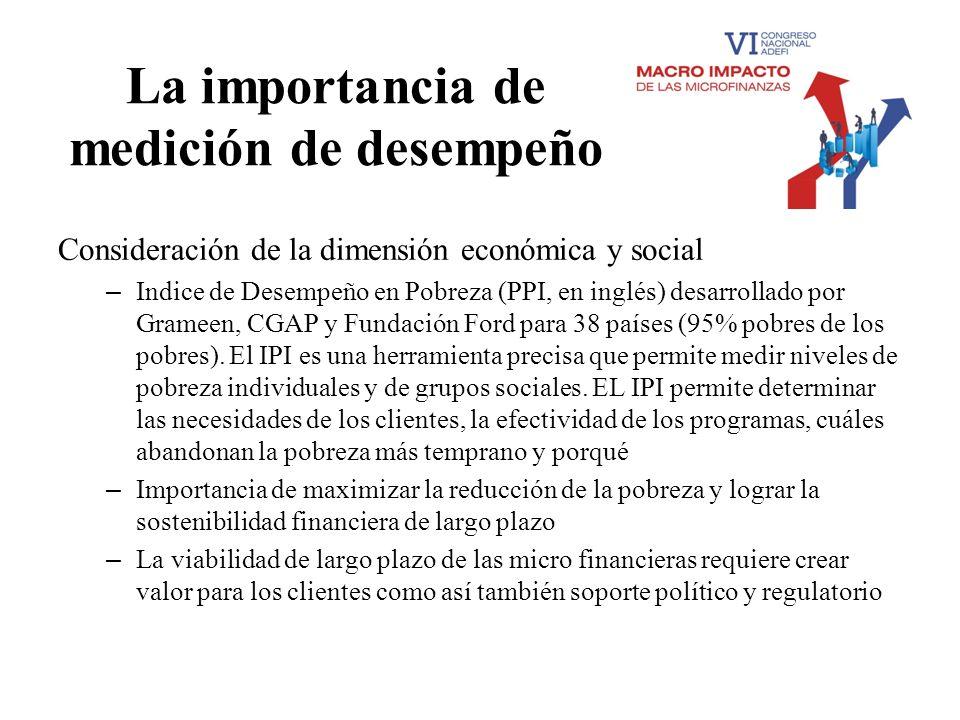 La importancia de medición de desempeño Consideración de la dimensión económica y social – Indice de Desempeño en Pobreza (PPI, en inglés) desarrollad