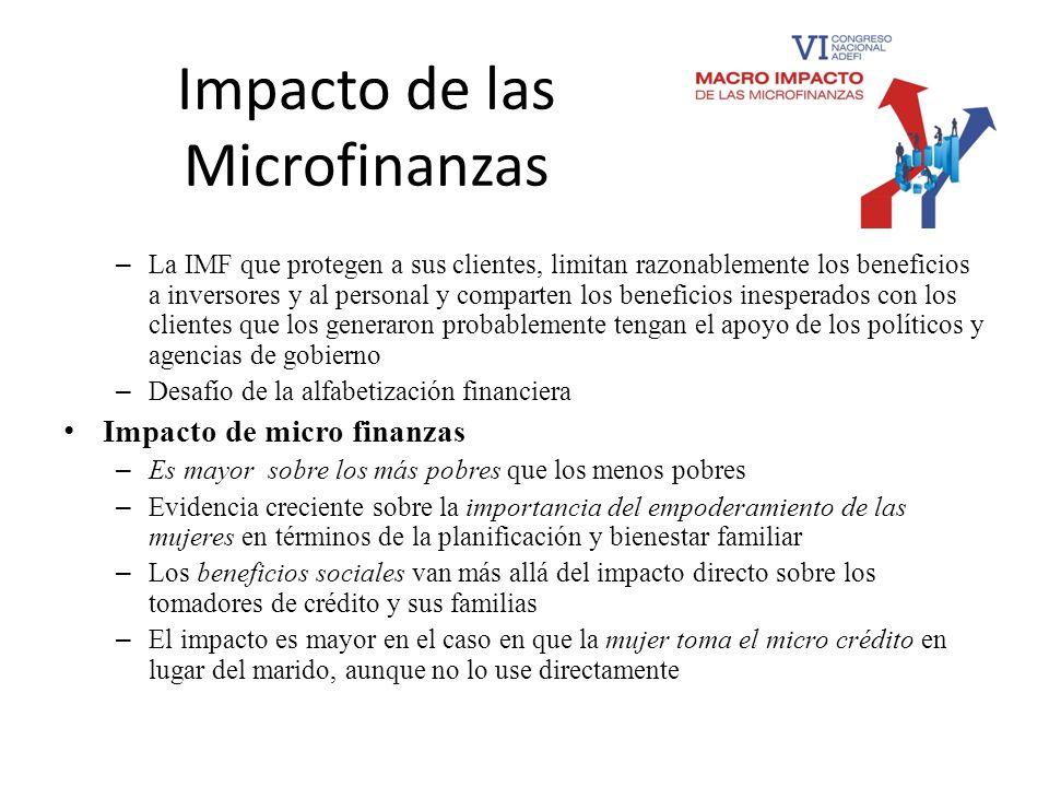 Impacto de las Microfinanzas – La IMF que protegen a sus clientes, limitan razonablemente los beneficios a inversores y al personal y comparten los be
