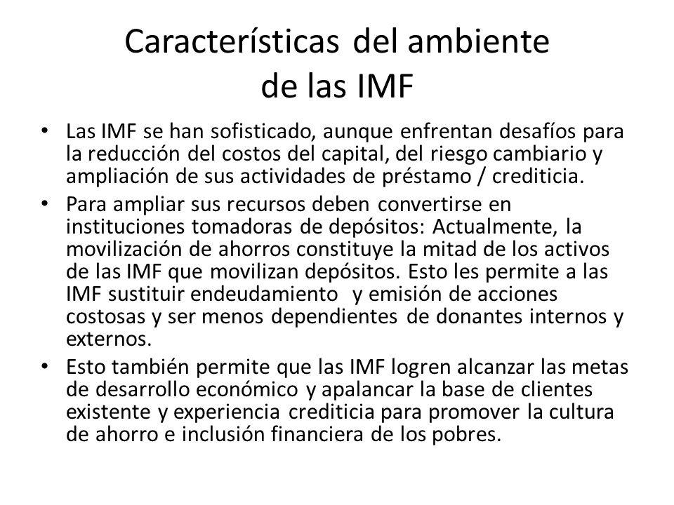 Características del ambiente de las IMF Las IMF se han sofisticado, aunque enfrentan desafíos para la reducción del costos del capital, del riesgo cam
