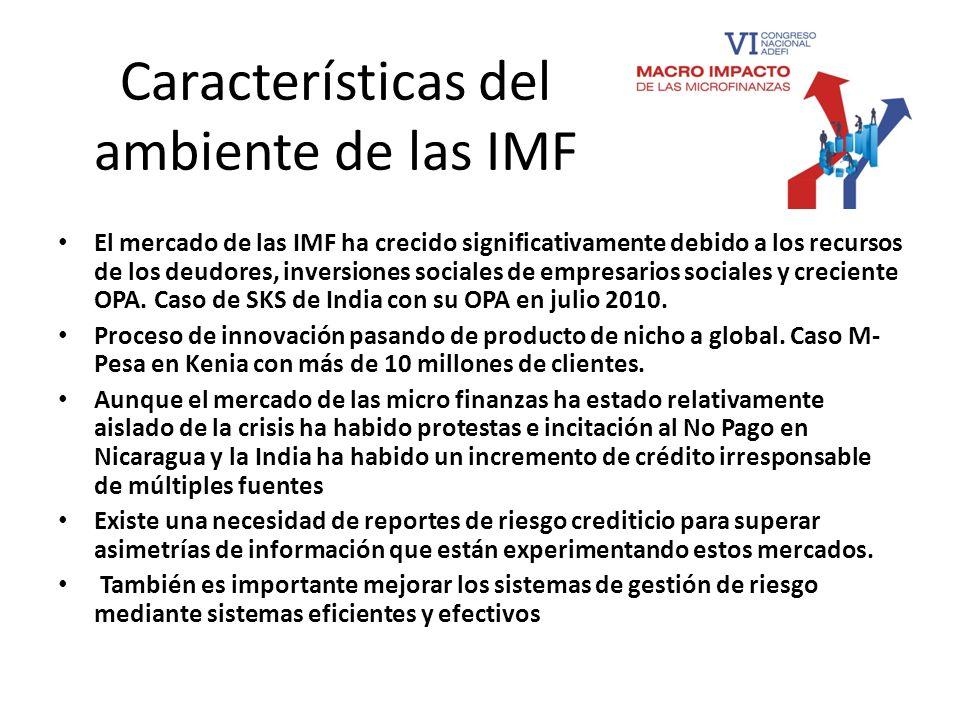 Características del ambiente de las IMF El mercado de las IMF ha crecido significativamente debido a los recursos de los deudores, inversiones sociale