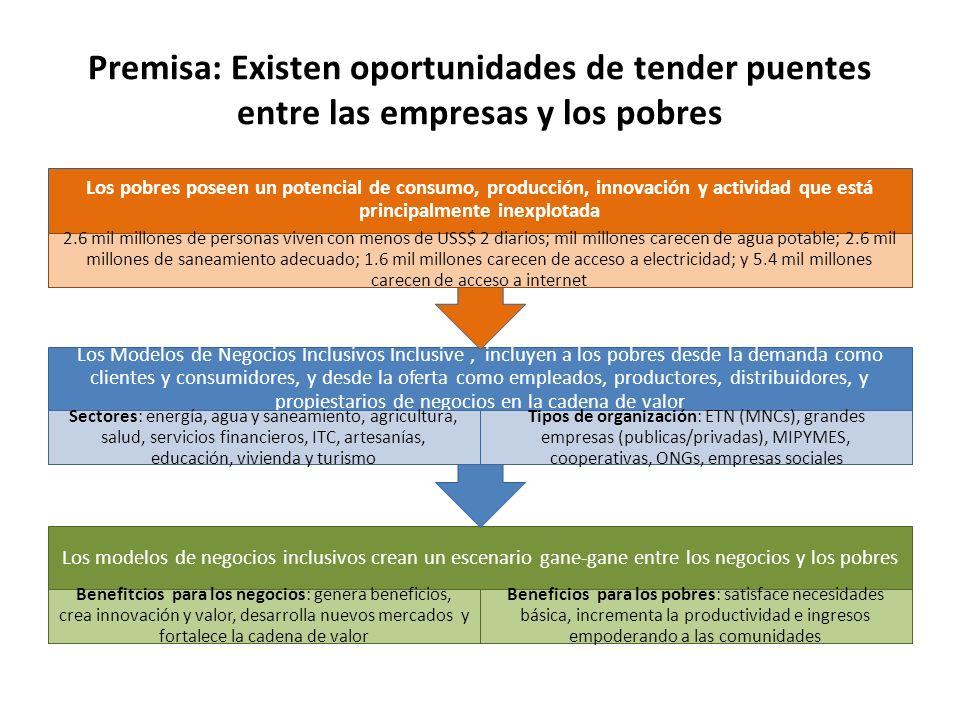 Premisa: Existen oportunidades de tender puentes entre las empresas y los pobres Los modelos de negocios inclusivos crean un escenario gane-gane entre