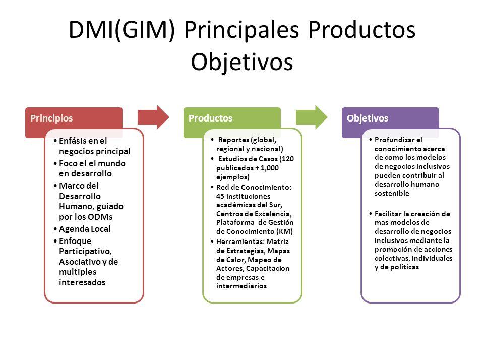 DMI(GIM) Principales Productos Objetivos Principios Enfásis en el negocios principal Foco el el mundo en desarrollo Marco del Desarrollo Humano, guiad