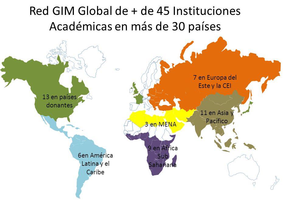 7 en Europa del Este y la CEI 13 en países donantes 6en América Latina y el Caribe 9 en Africa Sub Sahariana 3 en MENA 11 en Asia y Pacífico Red GIM G