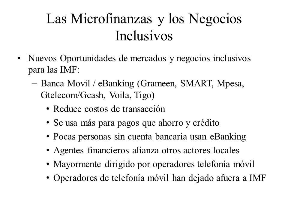 Las Microfinanzas y los Negocios Inclusivos Nuevos Oportunidades de mercados y negocios inclusivos para las IMF: – Banca Movil / eBanking (Grameen, SM