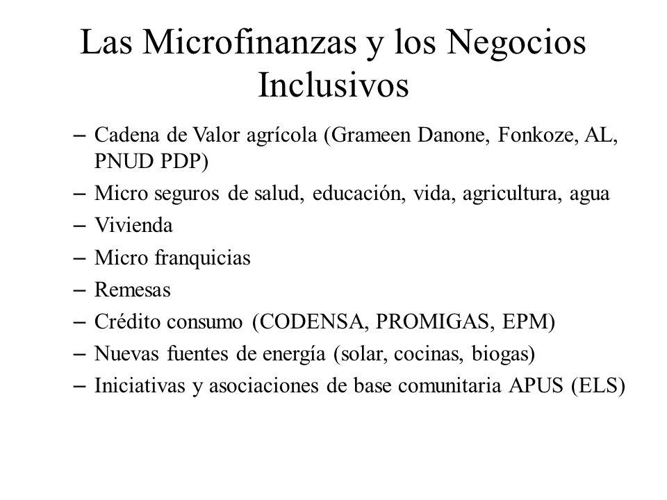 Las Microfinanzas y los Negocios Inclusivos – Cadena de Valor agrícola (Grameen Danone, Fonkoze, AL, PNUD PDP) – Micro seguros de salud, educación, vi