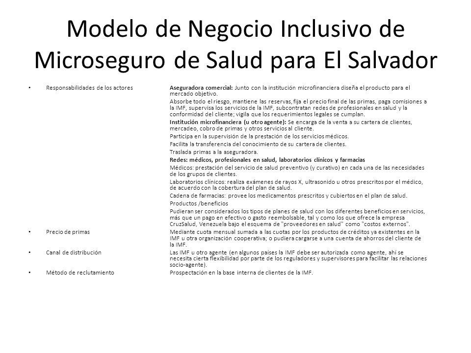 Modelo de Negocio Inclusivo de Microseguro de Salud para El Salvador Responsabilidades de los actoresAseguradora comercial: Junto con la institución m