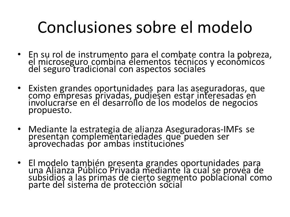 Conclusiones sobre el modelo En su rol de instrumento para el combate contra la pobreza, el microseguro combina elementos técnicos y económicos del se