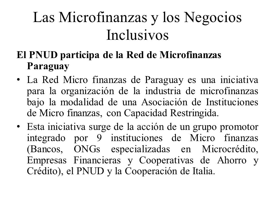 Las Microfinanzas y los Negocios Inclusivos El PNUD participa de la Red de Microfinanzas Paraguay La Red Micro finanzas de Paraguay es una iniciativa