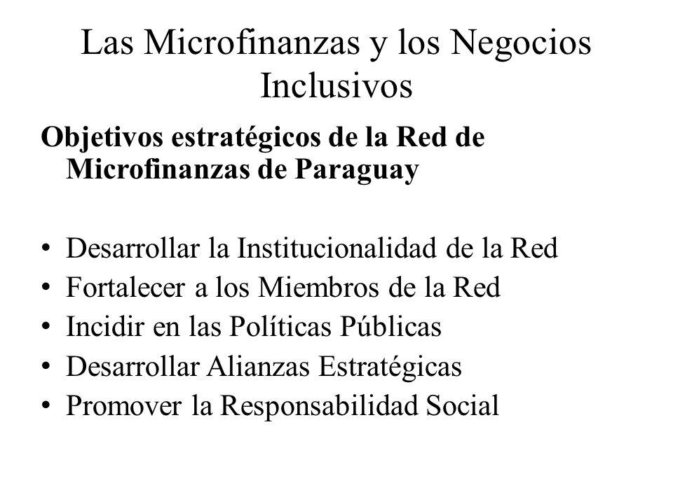 Las Microfinanzas y los Negocios Inclusivos Objetivos estratégicos de la Red de Microfinanzas de Paraguay Desarrollar la Institucionalidad de la Red F