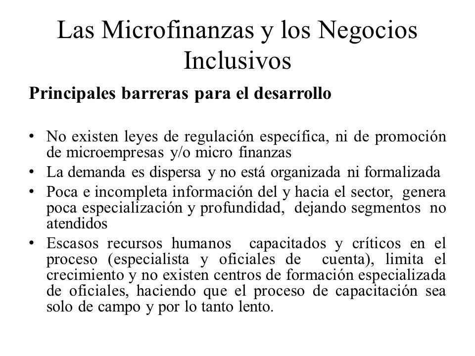 Las Microfinanzas y los Negocios Inclusivos Principales barreras para el desarrollo No existen leyes de regulación específica, ni de promoción de micr