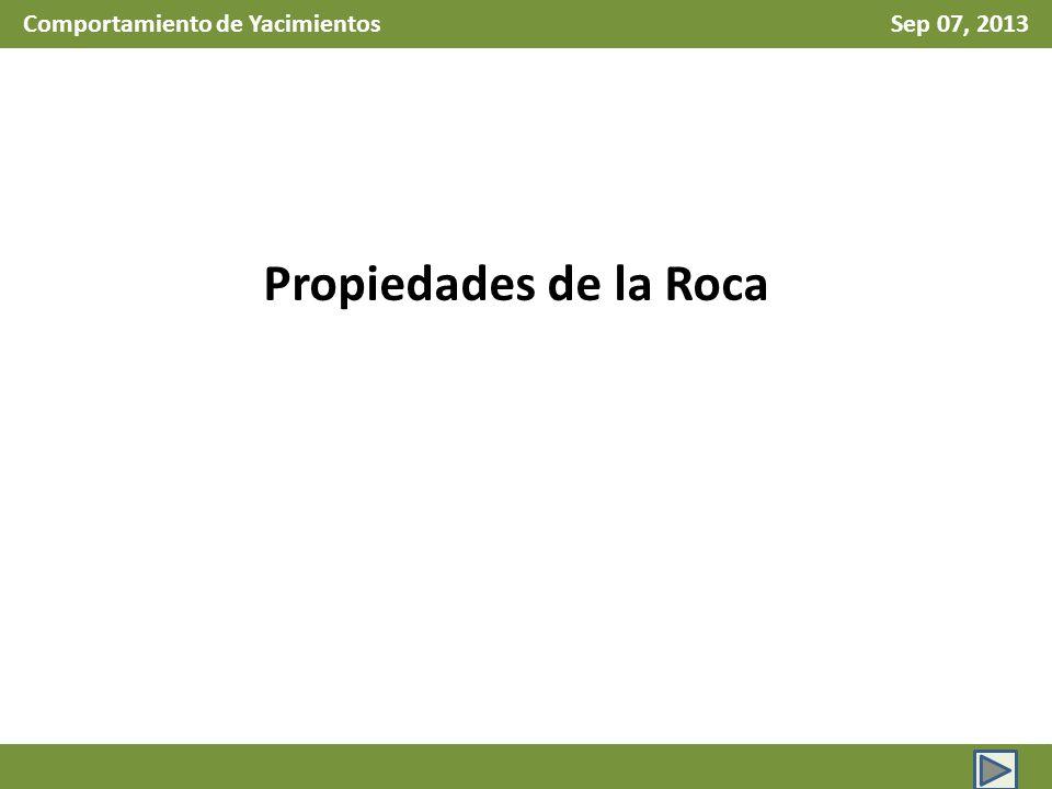 Comportamiento de Yacimientos Sep 07, 2013 Propiedades de la Roca