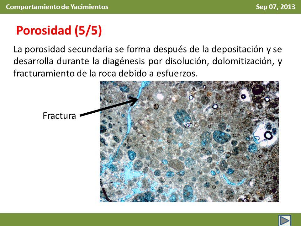 Comportamiento de Yacimientos Sep 07, 2013 Porosidad (5/5) La porosidad secundaria se forma después de la depositación y se desarrolla durante la diagénesis por disolución, dolomitización, y fracturamiento de la roca debido a esfuerzos.
