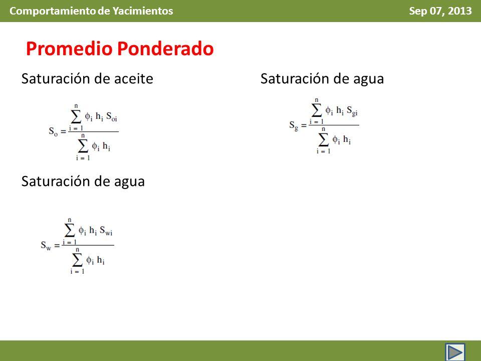 Comportamiento de Yacimientos Sep 07, 2013 Promedio Ponderado Saturación de aceite Saturación de agua