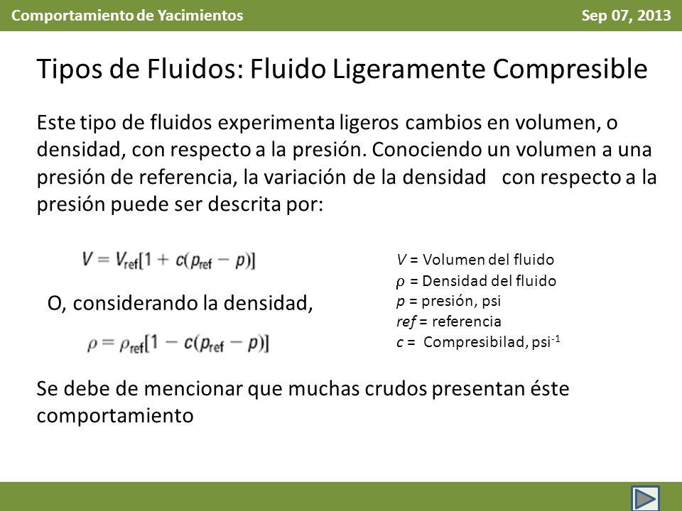 Comportamiento de Yacimientos Sep 07, 2013 Tipos de Fluidos: Fluido Ligeramente Compresible Este tipo de fluidos experimenta ligeros cambios en volumen, o densidad, con respecto a la presión.