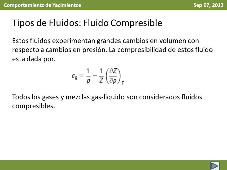 Comportamiento de Yacimientos Sep 07, 2013 Tipos de Fluidos: Fluido Compresible Estos fluidos experimentan grandes cambios en volumen con respecto a cambios en presión.
