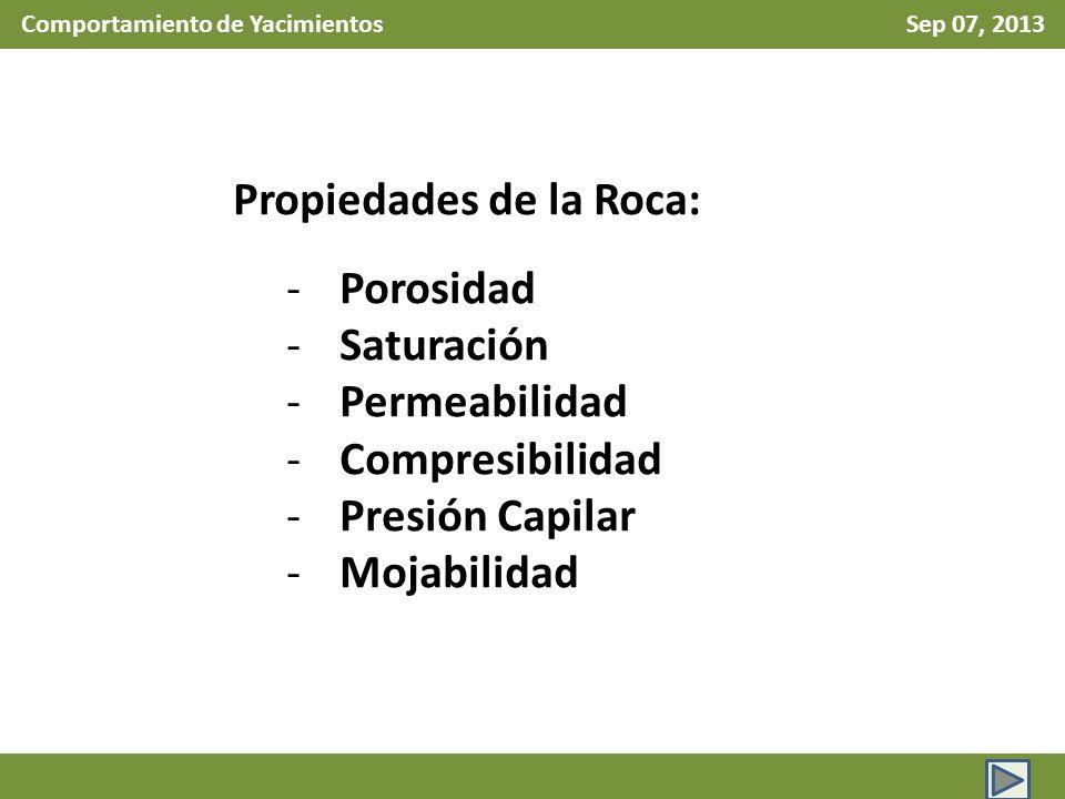 Comportamiento de Yacimientos Sep 07, 2013 Propiedades de la Roca: -Porosidad -Saturación -Permeabilidad -Compresibilidad -Presión Capilar -Mojabilidad