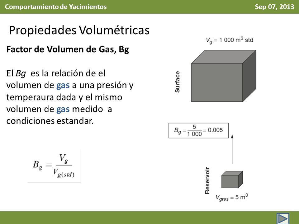 Comportamiento de Yacimientos Sep 07, 2013 Propiedades Volumétricas Factor de Volumen de Gas, Bg El Bg es la relación de el volumen de gas a una presión y temperaura dada y el mismo volumen de gas medido a condiciones estandar.
